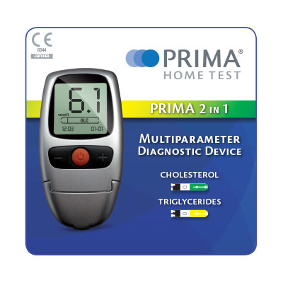 PRIMA 2in1 Self-testing Kit (incl. 5 strisce colesterolo e 5 trigliceridi)